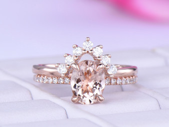 2pc Bridal Set,Oval Morganite Engagement Ring Moissanite Band 14K Rose Gold 6x8mm