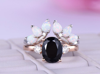 2pc Bridal Sets,Oval Black Spinel Engagement Ring Moissanite Opal Wedding Band 14k Rose Gold 7x9mm