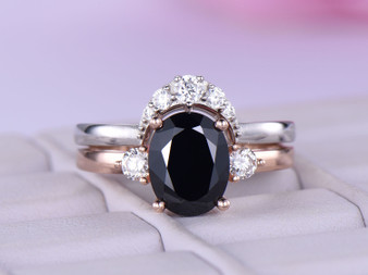 2pc Bridal Sets,Oval Black Spinel Engagement Ring Moissanite Wedding Band 14k Rose Gold 7x9mm