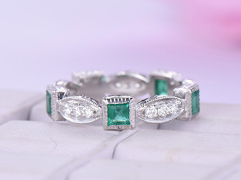 Natural Princess Emerald VS H Diamond Wedding Band Eternity Art Deco Ring 14K White Gold