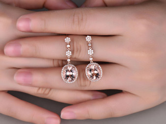 Oval Morganite Leverback Earrings Pave Diamond Halo 14K Rose gold 9x11mm