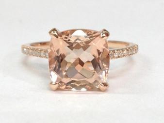 9mm Cushion Morganite Engagement Ring Diamond Basket 14K Rose Gold