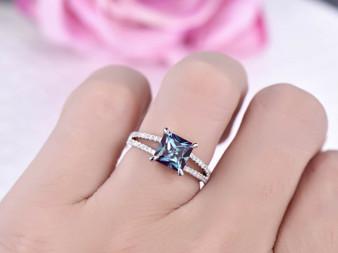 Princess Alexandrite Ring Pave Diamond 14K White Gold 7mm