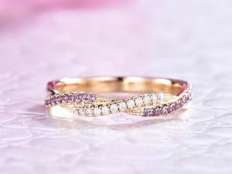 Amethyst Diamond Wedding Band Half Eternity Anniversary Ring 14K Yellow Gold