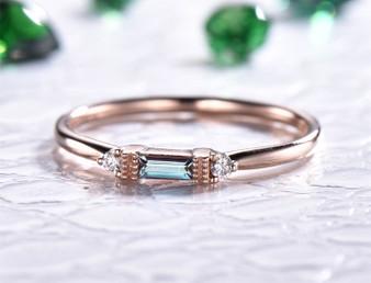 Emerald Cut Alexandrite Engagement Ring Full Cut Diamond 14K Rose Gold 2x4mm