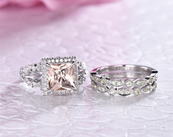 Trio Bridal Set,Princess Morganite Engagement Ring Art Deco Peridot Band 14K White Gold 7mm