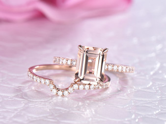 2pc Bridal Set, Emerald Cut Morganite Ring  Contour Diamond Wedding Band 14K Rose Gold 7x9mm