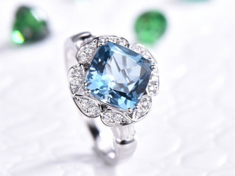 Cushion London Blue Topaz Engagement Ring Pave Diamond Wedding 14K White Gold 8mm