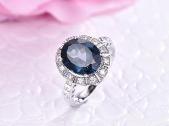 Oval London Blue Topaz Engagement Ring Diamond Band 14K White Gold 8x10mm