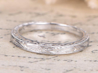 Filigree Plain 14k White gold Wedding band Vintage Style design Milgrain edge Anniversary Ring