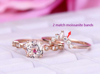 Reserved for Hud: 3pc Bridal Set,Round Morganite Engagement Ring Moissanite Tiara Ring 14k Rose Gold 6.5mm