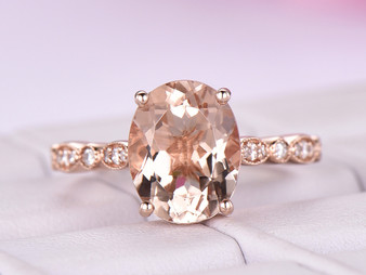 3ct Oval Morganite Diamond Engagement Ring 14K Rose Gold 8x10mm