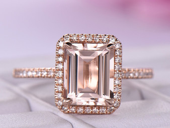 Emerald Cut Morganite Diamond Engagement Ring 14K Rose Gold 7x9mm