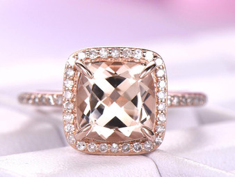 2ct Cushion Morganite Engagement Ring Prong Set Accent Diamonds 14K Rose Gold 8mm