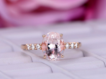 Oval Morganite Ring Moissanite Band 14K Rose Gold 7x9mm