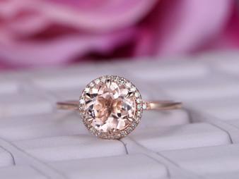 2ct Round Morganite Diamond Engagement Ring 14K Rose Gold 8mm 6 Prongs