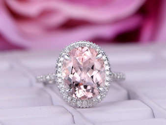 3ct Oval Morganite Engagement Ring Pave Diamond Wedding 14K White Gold 8x10mm Milgrain under gallery
