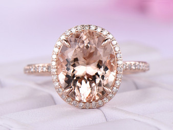4.5ct Oval Morganite Diamond Halo Engagement Ring Claw Prongs 14K Rose Gold 10x12mm