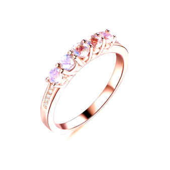 5-Stones Moonstone Wedding Band Diamond Anniversary 14k Rose Gold Ring