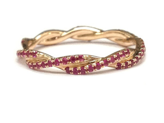 Ruby Wedding Band Eternity Anniversary Ring 14K Rose Gold Unique Curved Double twist