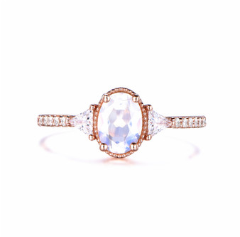 3 Stones Natural Oval Moonstone Engagement Ring Trillion Moissanite Milgrain Halo 14k Rose Gold
