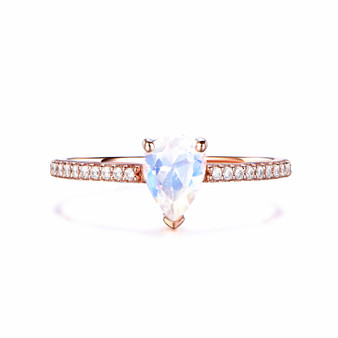 Natural Pear cut Moonstone Engagement Ring,Diamond 14K Rose Gold 5x7mm
