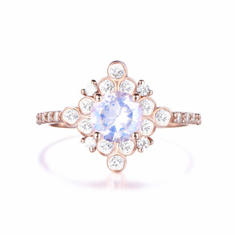 Natural Round Moonstone Engagement ring, Vintage Bezel Diamond Halo Rose Gold Ring,6mm