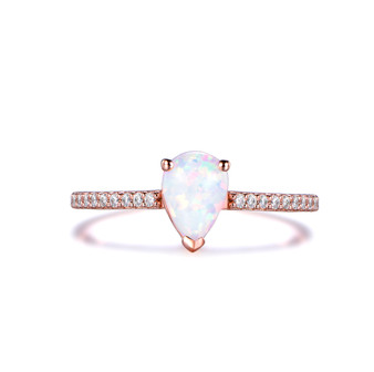Pear cut Opal Engagement Ring,Diamond 14K Rose Gold 5x7mm