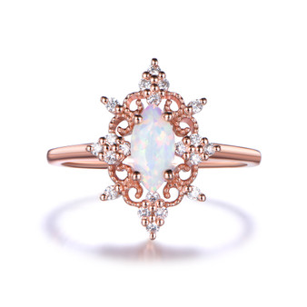 Marquise Opal Engagement ring, Rose Gold Vintage Diamond Ring