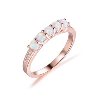 5-Stones Africa Opal Wedding Band Diamond Anniversary 14k Rose Gold Ring