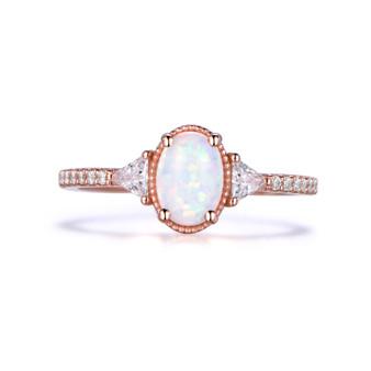 3 Stones Africa Oval Opal Engagement Ring Trillion Moissanite Milgrain Halo 14k Rose Gold