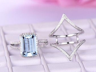 3pc Bridal Set, 3ct Emerald Cut Aquamarine Ring Passionate Love Set, Diamond Chevron Ring Guard 14K Gold 8x10mm