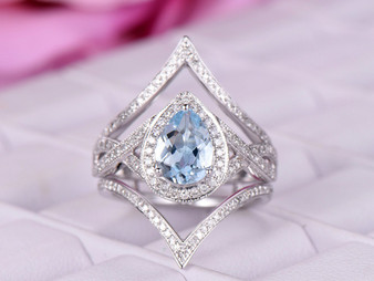 3pc Bridal Set, 1.2ct Pear Aquamarine Ring Passionate Love Set Diamond Chevron Ring Guard 14k Gold 6x8mm