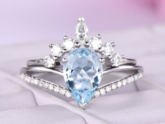 2pc Bridal Set, Pear Aquamarine Diamond Engagement Ring Tiara Moissanite Band 14K White Gold  6x8mm