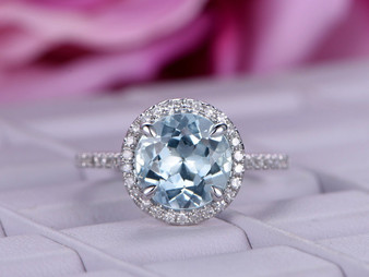 Round Aquamarine Engagement Ring Diamond Wedding Ring 14K White Gold 8mm