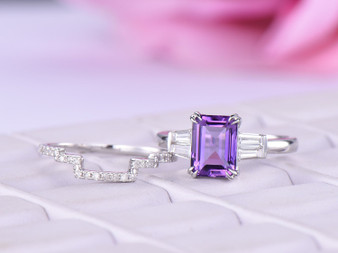 2pc Bridal Set,Emerald Cut Amethyst Ring Contour Diamond Wedding band 14K White Gold 6x8mm