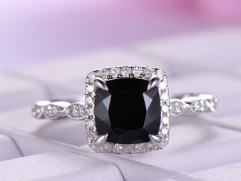 Cushion Black Spinel Cathedral Ring Diamond Wedding Ring,14K White Gold 6.5mm