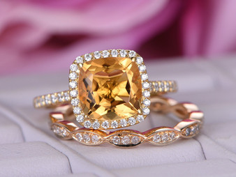 2pc Bridal Set,Cushion Citrine Engagement Ring, Art Deco Diamond Wedding band, 14K Yellow Gold 8mm