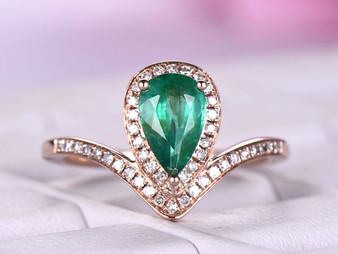 Natural Pear Emerald Engagement Ring Pave Diamond Wedding 14K Rose Gold 5x8mm