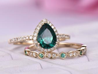 2pc Bridal Set,Pear Emerald Ring Birthstone Art Deco band 14k Yellow Gold 6x8mm