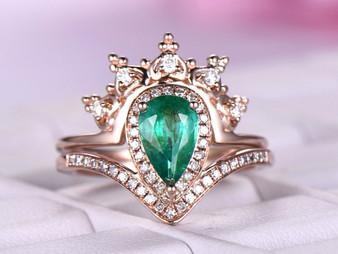 2pc Bridal Set,Natural Pear Emerald Engagement Ring Tiara Moissanite Band 14K Rose Gold 5x8mm
