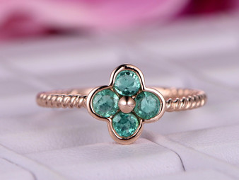 Round Natural Emerald Engagement Ring 14K White Gold Lucky Clover