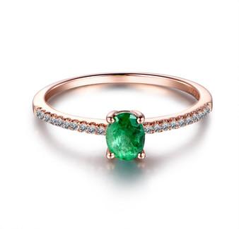 Oval Green Tsavorite Engagement Ring Diamond Wedding Ring 14K Rose Gold 4x5mm