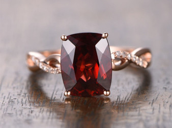 2.7ct Cushion Garnet Engagement Ring Diamond Wedding Ring 14K Rose Gold 8x10mm