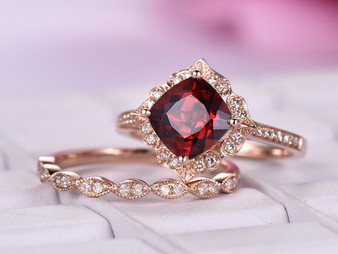 2pc Bridal Set, 2ct Cushion Garnet Cathdral Ring Floral Diamond Halo Art Deco Band 14K Rose Gold 7mm