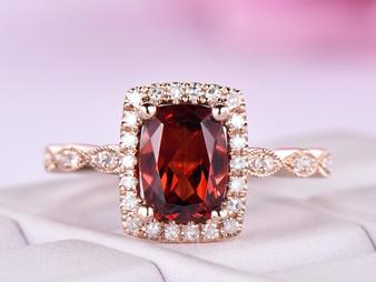 Cushion Garnet Engagement Ring Art Deco Diamond Band 14K Rose Gold 6x8mm