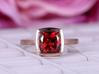 Cushion Garnet Engagement Ring Bezel Solitaire 14K Rose Gold 8mm