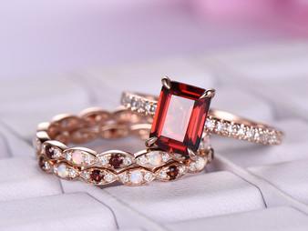 3pc Bridal Set, 2ct Emerald Cut Garnet Ring Opal/Garnet Matching Bands 14K Rose Gold 6x8mm