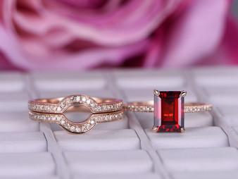 3pc Bridal Set, Emerald Shaped Garnet Ring Trio Set Contour Diamond Band 14K Rose Gold 6x8mm