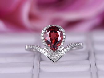 Pear Garnet Engagement Ring Diamond Wedding 14k White Gold 6x8mm